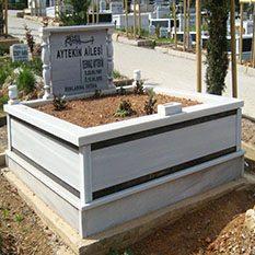 İki Kişilik Çift Şeritli Mermer Mezar