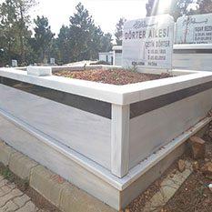 İki Kişilik Şeritli Mermer Mezar